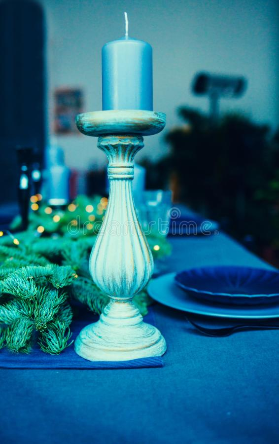Decorative blue candle royalty free stock images