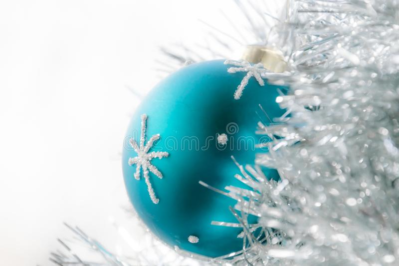 Decorative blue Christmas ball. Isolated on white royalty free stock photos