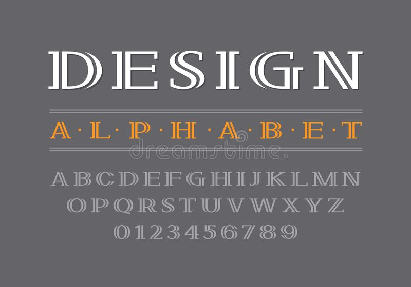 Decorative bold serif font. Uppercase letters and numbers vector illustration