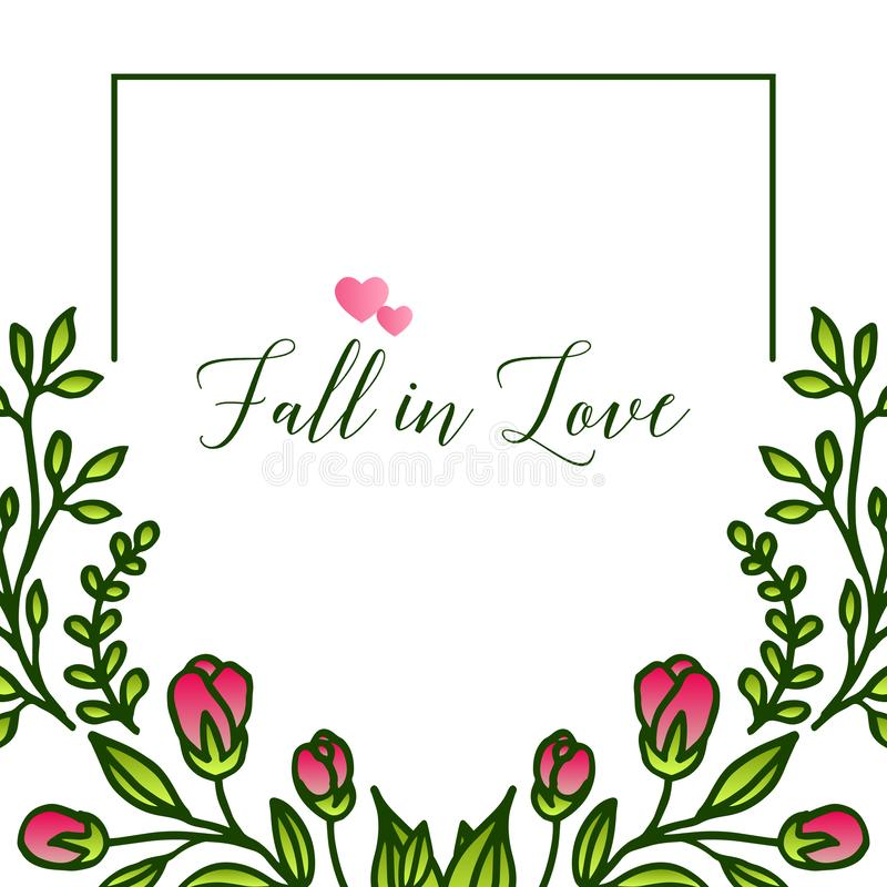 Decorative border of leaf wreath frame, for unique card fall in love. Vector. Illustration stock illustration