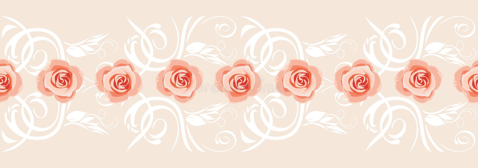 Decorative border with pink roses for greeting card royalty free stock photography