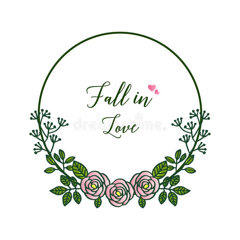 Decorative border rose floral frames, for ornate of greeting card fall in love. Vector. Illustration royalty free illustration