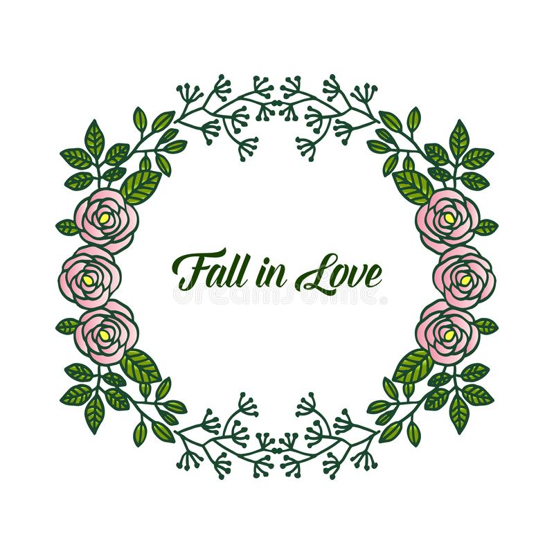 Decorative border rose floral frames, for ornate of greeting card fall in love. Vector. Illustration vector illustration