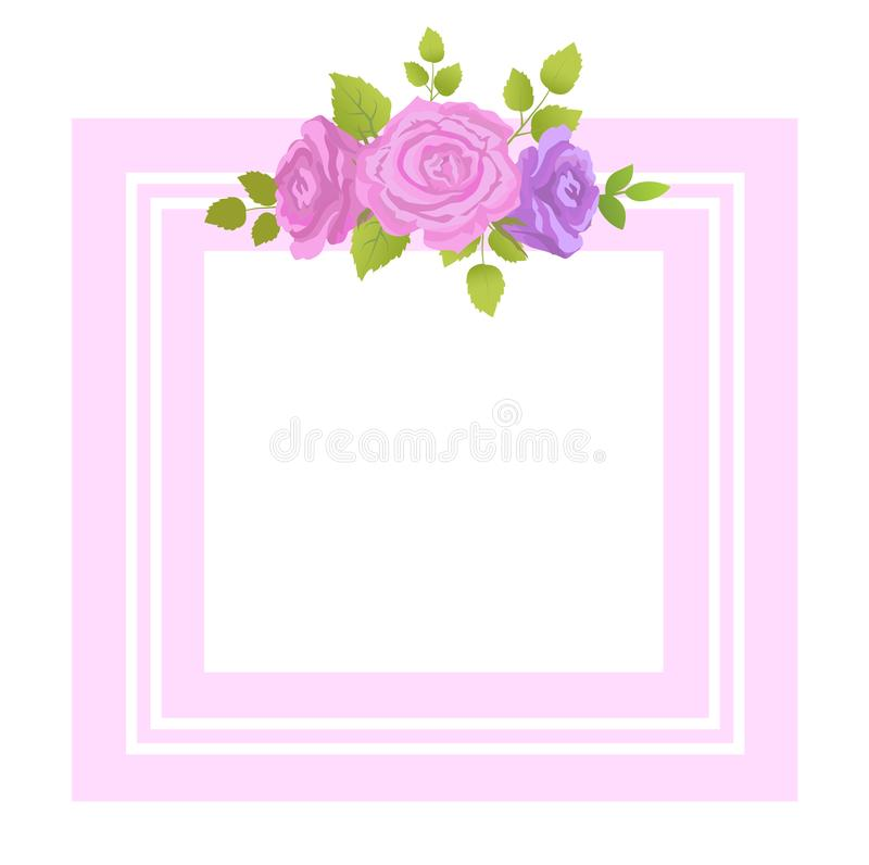 Decorative Border Rose Flowers with Green Leaves. Vector in realistic design isolated on white. Purple buds in blossom, decorative floral elements vector illustration