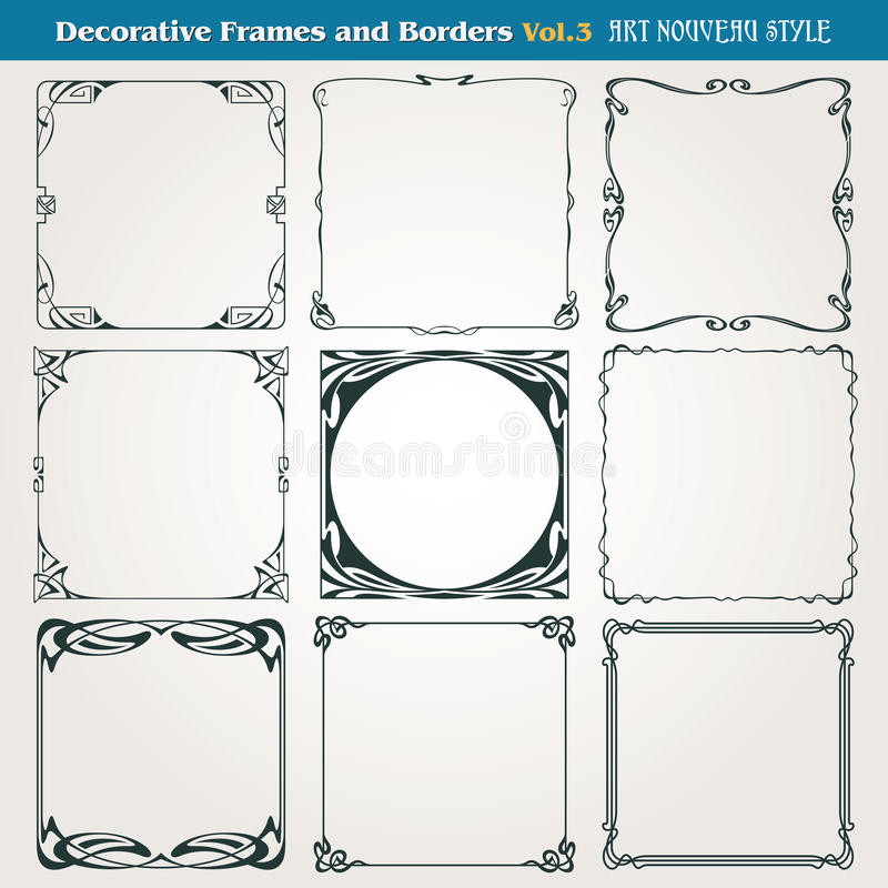Free Decorative Borders And Frames Art Nouveau Style Vector Royalty Free Stock Photography - 40244077