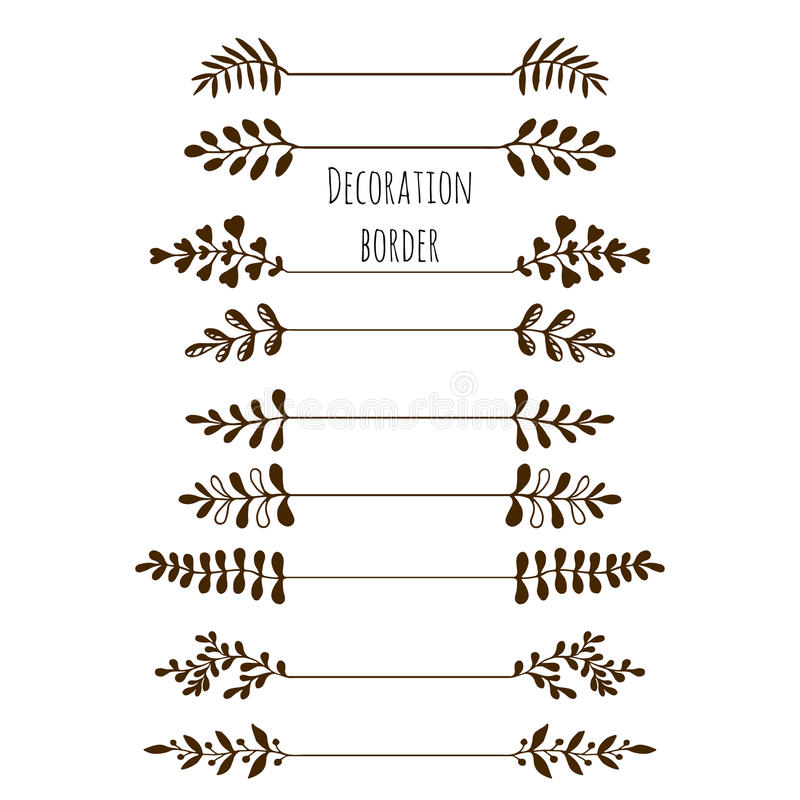 Decorative borders. Hand drawn vintage border set with leaves, branches. stock illustration
