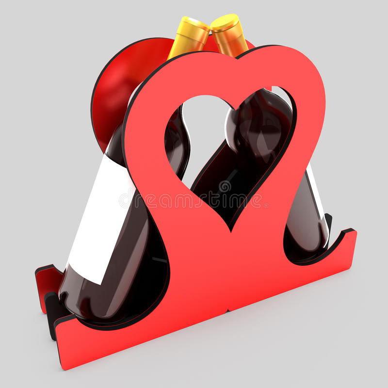 Decorative bottle stand for wine in the form of a heart on a wedding theme. 3D illustration. Decorative bottle stand for wine in the form of a heart on a vector illustration