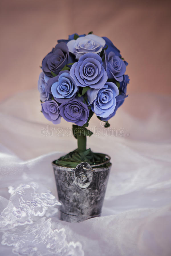 Decorative bouqet. Decorative unique bouquet of blue roses stock photo
