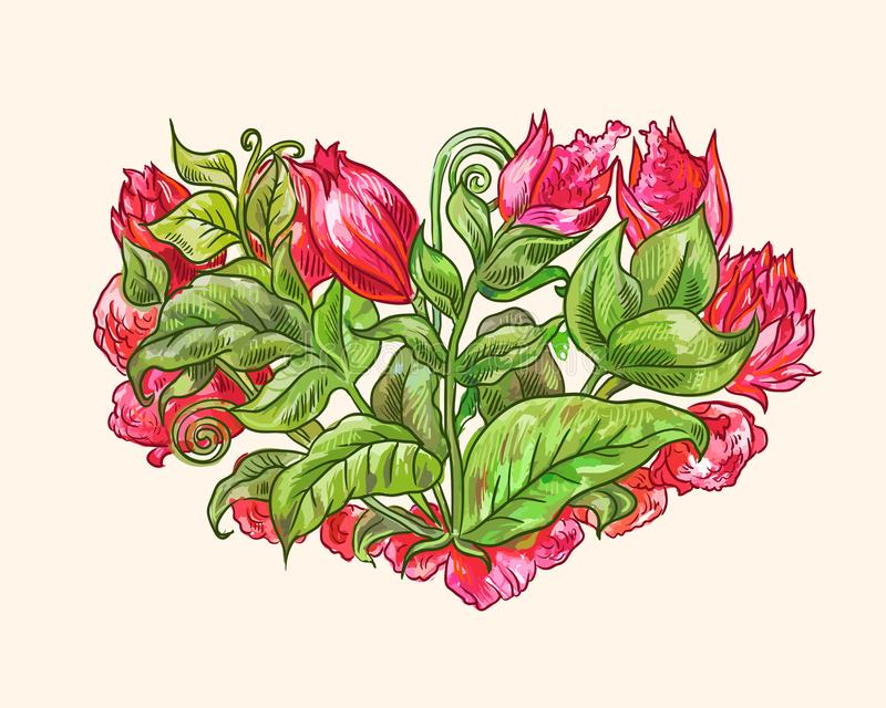 Watercolor floral heart with red tropical flower. Decorative bouquet, floral heart, isolated element suitable for valentine`s day or wedding design stock illustration
