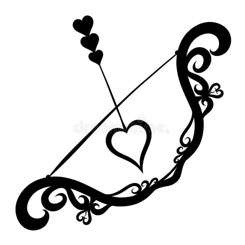 Decorative bow and arrow, romance, hearts and love.  vector illustration