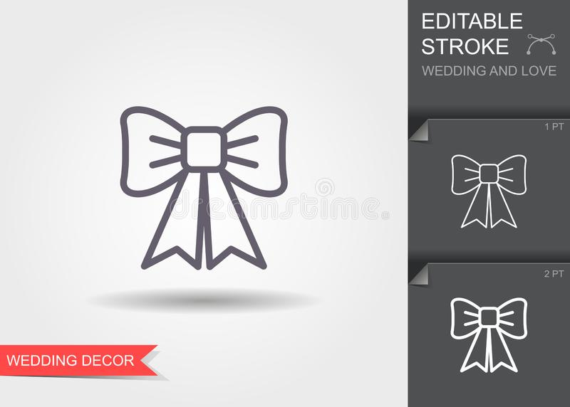 Decorative bow. Line icon with shadow and editable stroke royalty free illustration