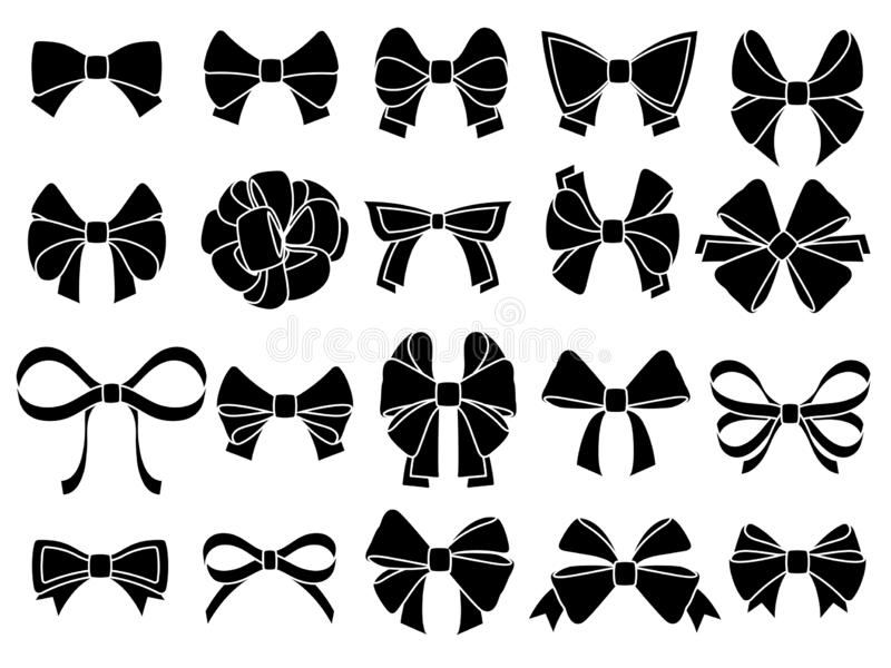 Decorative bow silhouette. Gift wrapping favor ribbon, black jubilee bows stencil vector icons set stock illustration