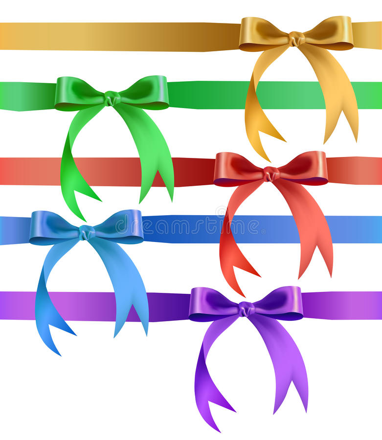 Decorative bow in various colors. Illustration of decorative ribbon tied in a bow vector illustration