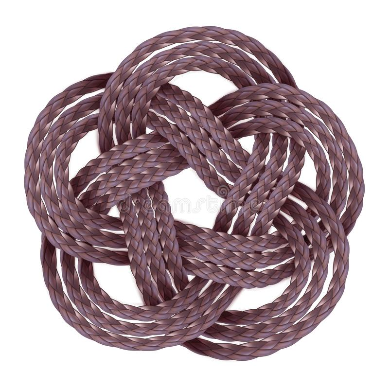 Decorative braided element of three strand cord. Vector illustration royalty free stock photography