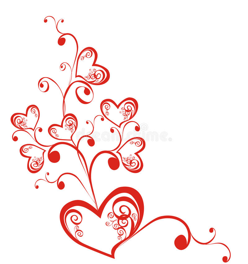 Decorative branch with hearts. Vector illustration royalty free stock images