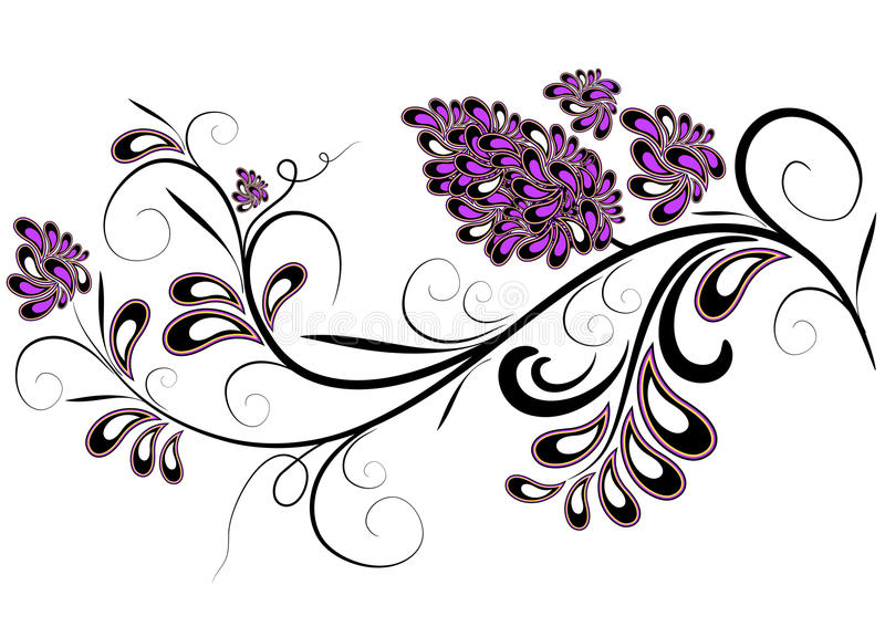 Decorative branch with lilac flowers stock illustration