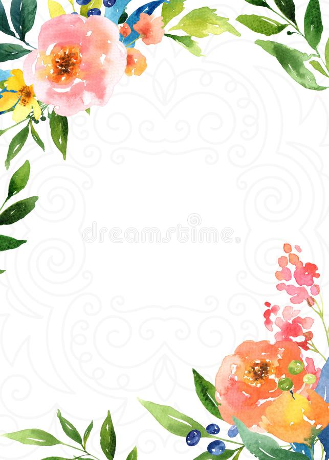Decorative Bright Floral Background. Bright and colorful background with flowers and foliage royalty free illustration