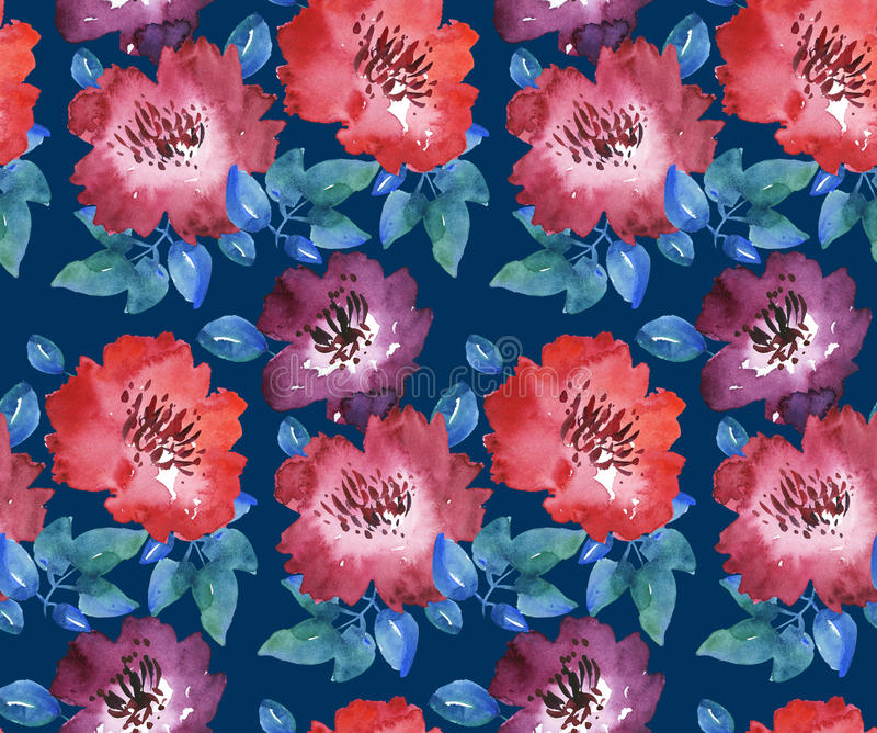 Decorative bright red floral seamless pattern stock illustration