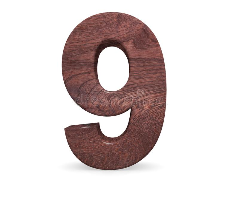 Decorative Brown polished wooden alphabet digit nine symbol - 9. 3d rendering illustration. Isolated on white background. Decorative Brown polished wooden stock illustration