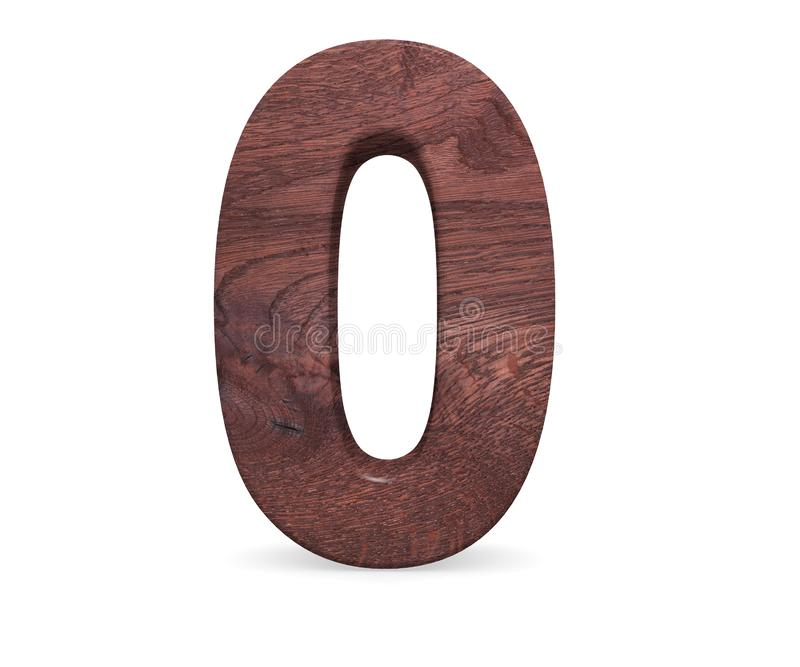Decorative Brown polished wooden alphabet digit zero symbol - 0. 3d rendering illustration. Isolated on white background. Decorative Brown polished wooden vector illustration