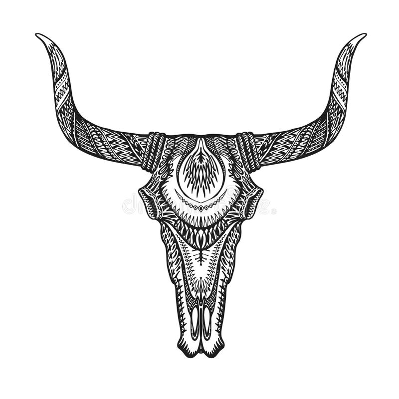 decorative bull skull in tattoo tribal style hand drawn vector rh dreamstime com traditional longhorn skull tattoo longhorn skull chest tattoo