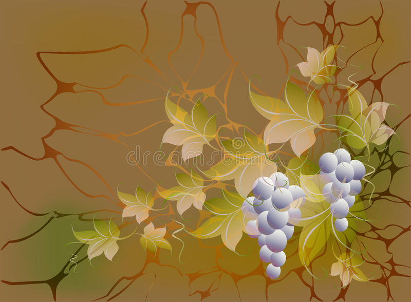 Decorative bunches of grapes and leaves on autumn background in yellow and orange shades. EPS10 vector illustration.  vector illustration