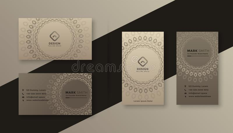 Decorative business card design in vintage style royalty free illustration