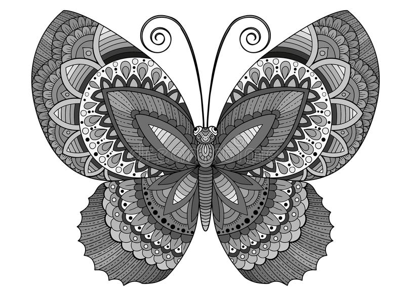 Download Vector Coloring Book For Adults Decorative Butterfly Of Bright Colors Image Print