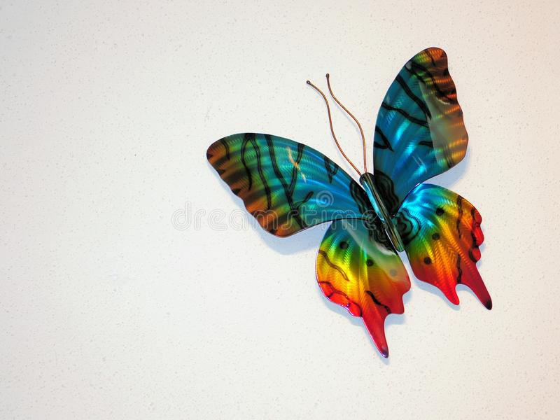 Decorative butterfly on wall royalty free stock image