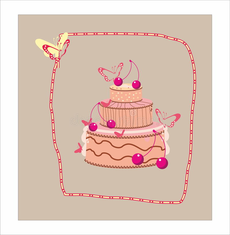 Decorative cake with cherry and butterfly royalty free stock photos