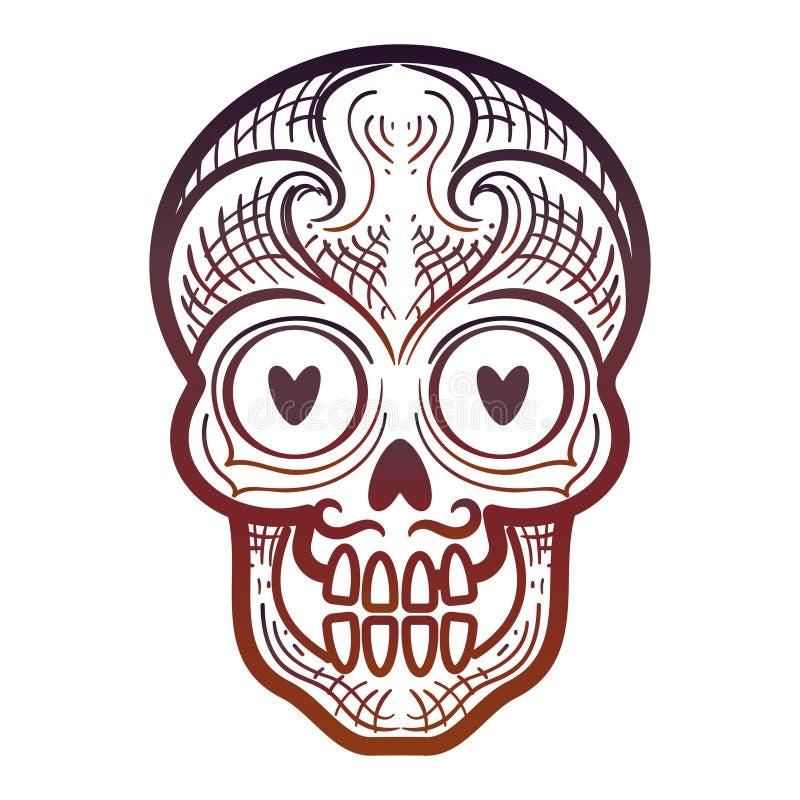 Decorative calavera or skull icon. Hand drawn decorative calavera or skull on white backdrop. Vector illustration royalty free illustration