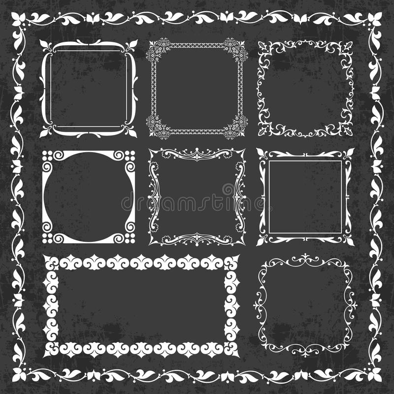 Decorative Calligraphic Frames In Vintage Style On A Chalkboard ...