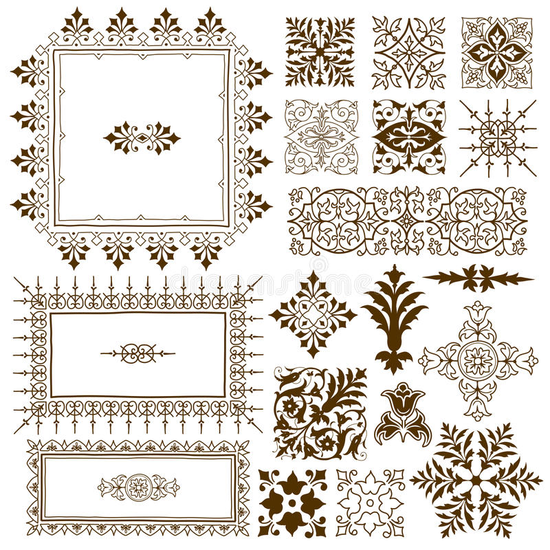 Decorative calligraphic ornate design elements stock illustration