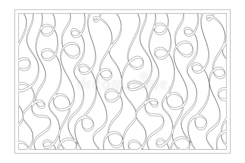 Decorative card for cutting. Abstract linear pattern. Laser cut panel. Ratio 2:3. Vector illustration.  vector illustration