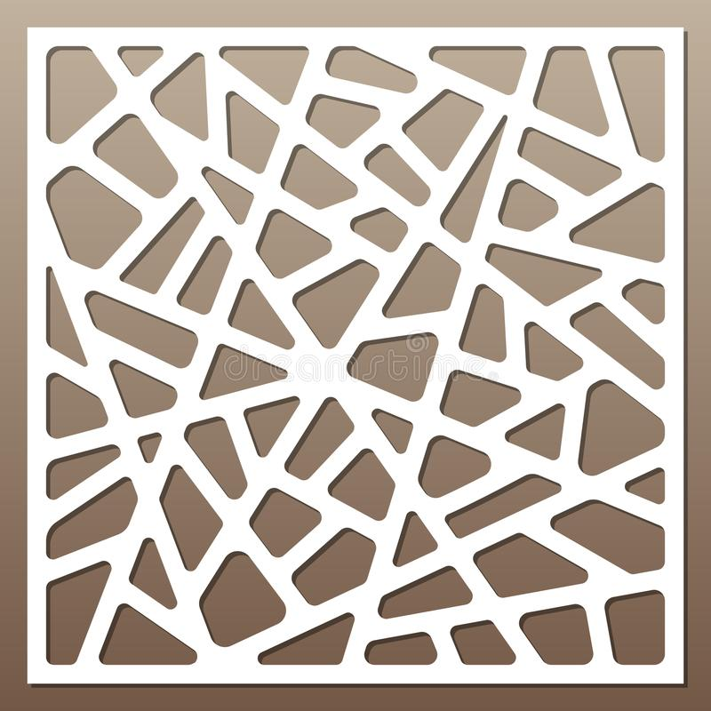 Decorative card for cutting. Abstract lines pattern. Laser cut. Ratio 1:1. Vector illustration royalty free illustration