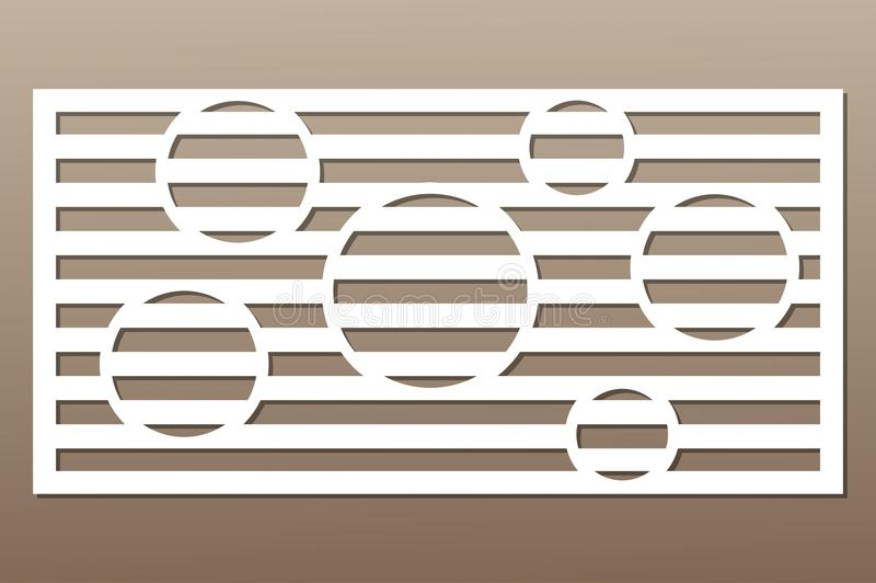 Decorative card for cutting. Circle line pattern. Laser cut. Ratio 1:2. Vector illustration.  royalty free illustration