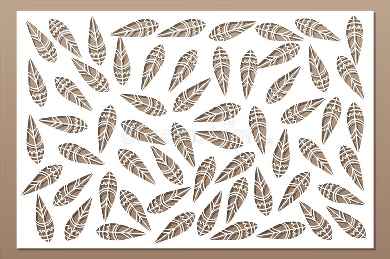 Decorative card for cutting. Ethnic national pattern. Laser cut panel. Ratio 2:3. Vector illustration.  stock illustration
