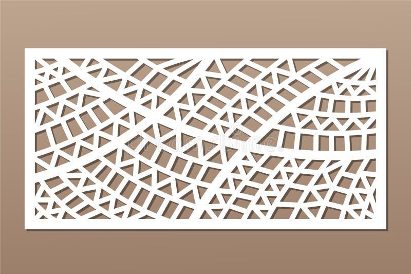 Decorative card for cutting. Geometric ethnic pattern. Laser cut panel. Ratio 1:2. Vector illustration.  stock illustration