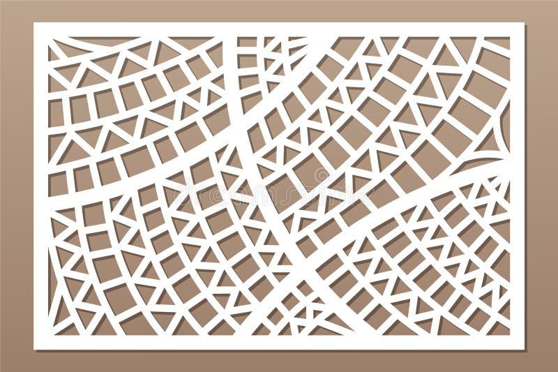 Decorative card for cutting. Geometric ethnic pattern. Laser cut panel. Ratio 2:3. Vector illustration.  royalty free illustration