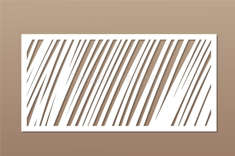 Decorative card for cutting. Geometric linear pattern. Laser cut panel. Ratio 1:2. Vector illustration.  vector illustration
