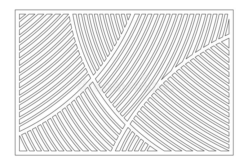 Decorative card for cutting. Geometric linear pattern. Laser cut panel. Ratio 2:3. Vector illustration royalty free illustration