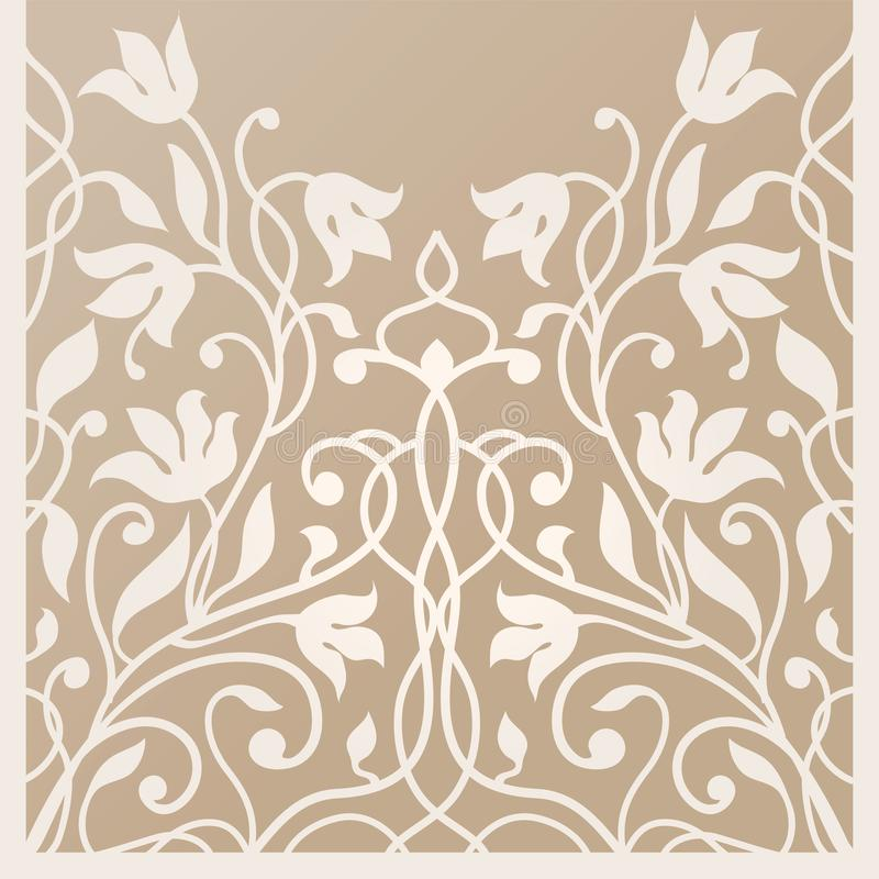 Decorative card for cutting. Flower leaf pattern. Laser cut. Ratio 1:2. Vector illustration.Decorative silhouette for cutting card vector illustration
