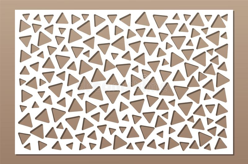 Decorative card for cutting. Repeat triangles pattern. Laser cut panel. Ratio 2:3. Vector illustration.  stock illustration