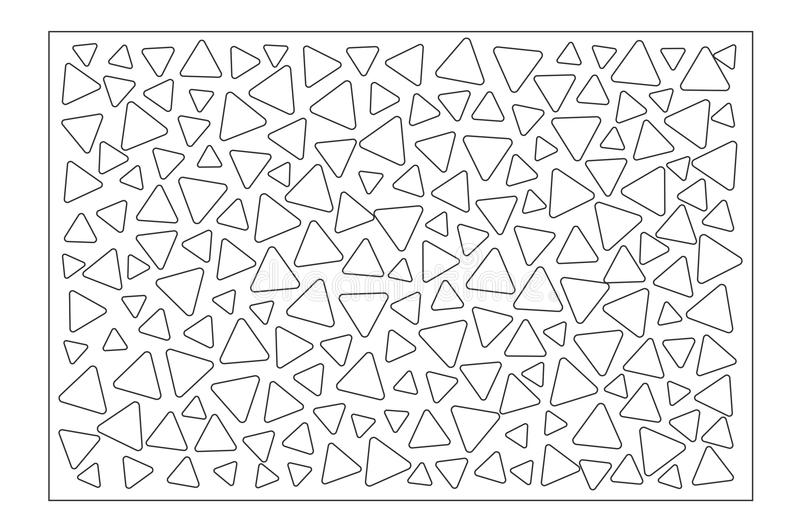 Decorative card for cutting. Repeat triangles pattern. Laser cut panel. Ratio 2:3. Vector illustration.  royalty free illustration