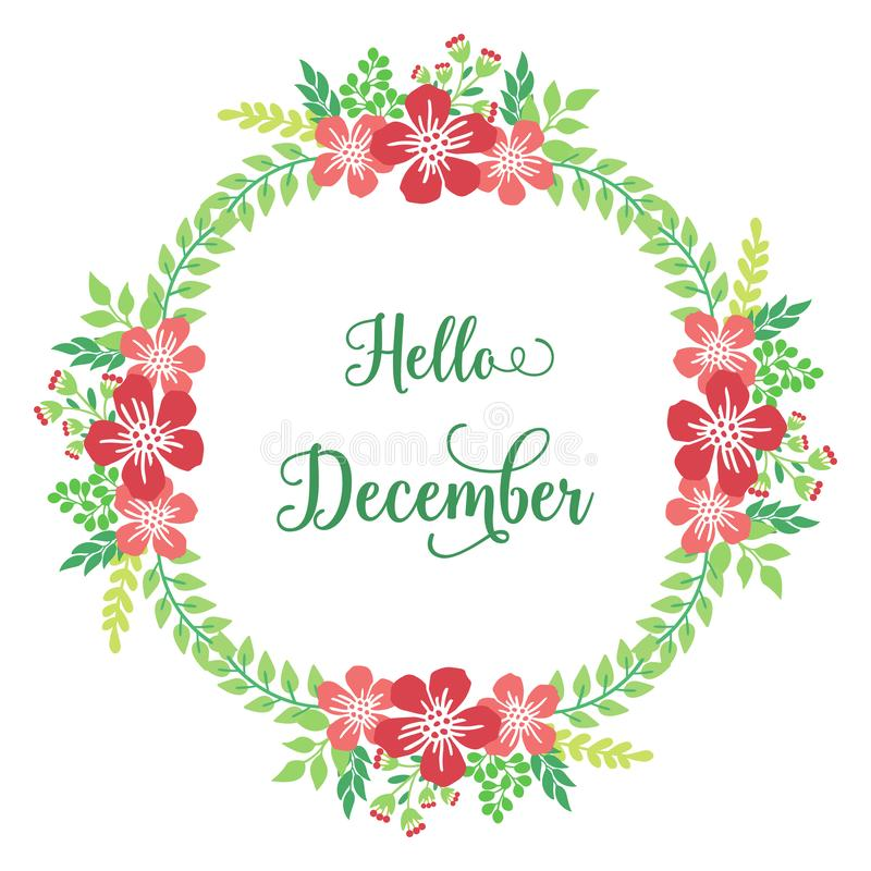 Decorative of card hello december, with modern red flower frame. Vector stock image