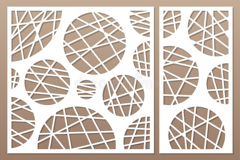 Decorative card set for cutting laser or plotter. geometric circle pattern panel. Laser cut. Ratio 1:2, 1:1. Vector illustration. Decorative card set for cutting vector illustration