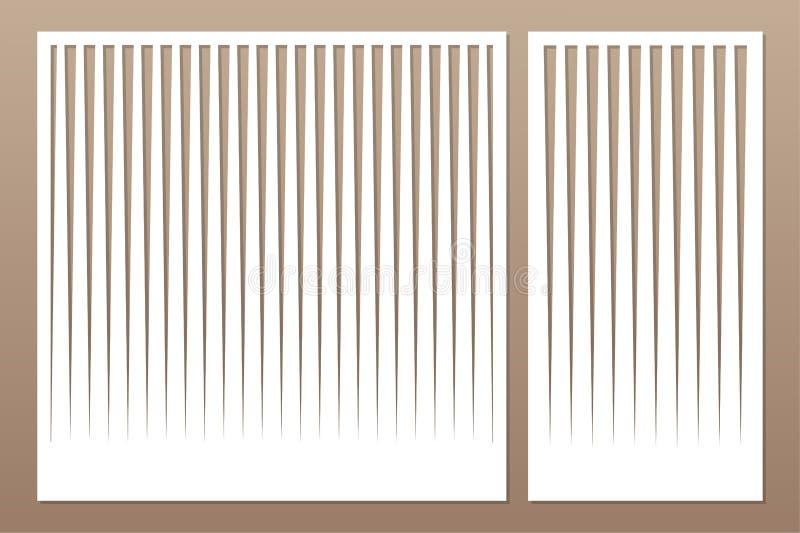 Decorative card set for cutting laser or plotter. Pattern line panel. Laser cut. Ratio 1:1; 1:2. Vector illustration royalty free illustration