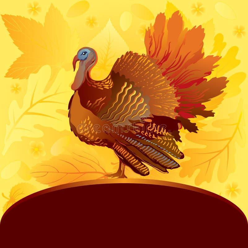 Decorative card with turkey vector illustration