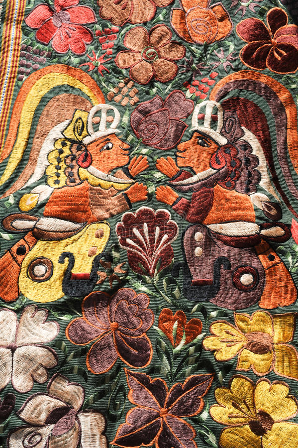 Decorative carpets at the market of Santiago de Atitlan. On Guatemala royalty free stock images