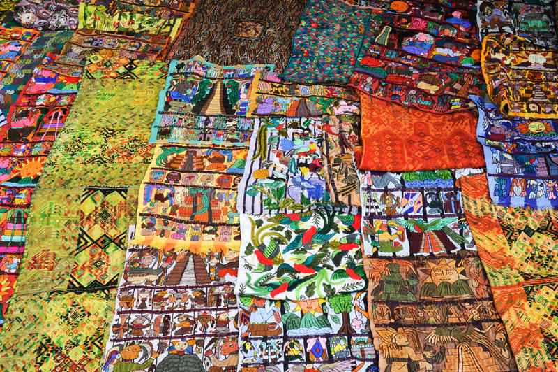 Decorative carpets at the market of Santiago de Atitlan. On Guatemala stock photos